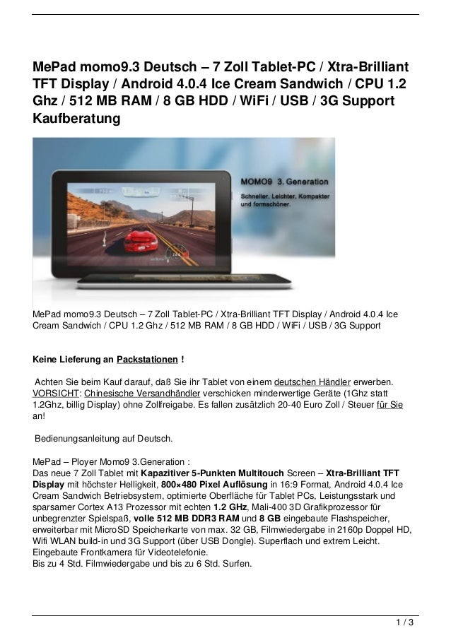 MePad momo9.3 Deutsch – 7 Zoll Tablet-PC / Xtra-BrilliantTFT Display / Android 4.0.4 Ice Cream Sandwich / CPU 1.2Ghz / 512...