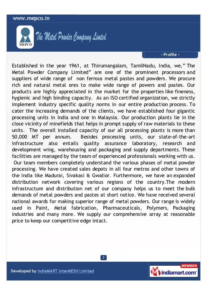 The Metal Powder Company Limited, Thirumanglam, Non-Ferous Metal Powd…