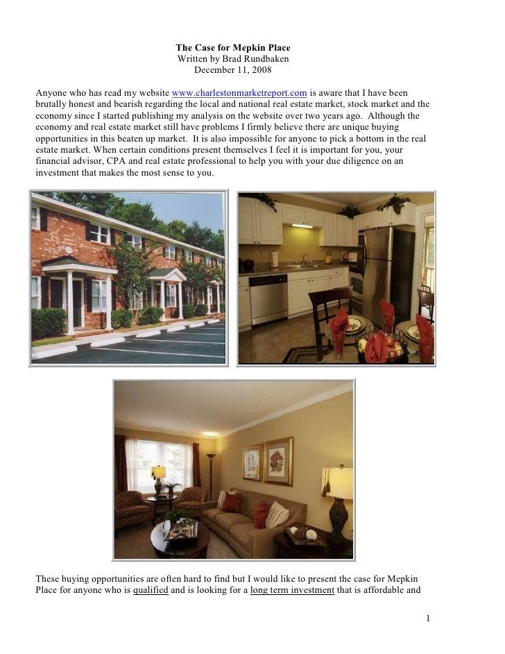 The Case for Mepkin Place                                    Written by Brad Rundbaken                                    ...