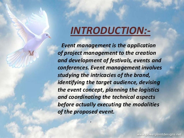 An introduction to the project management of events ppt video.