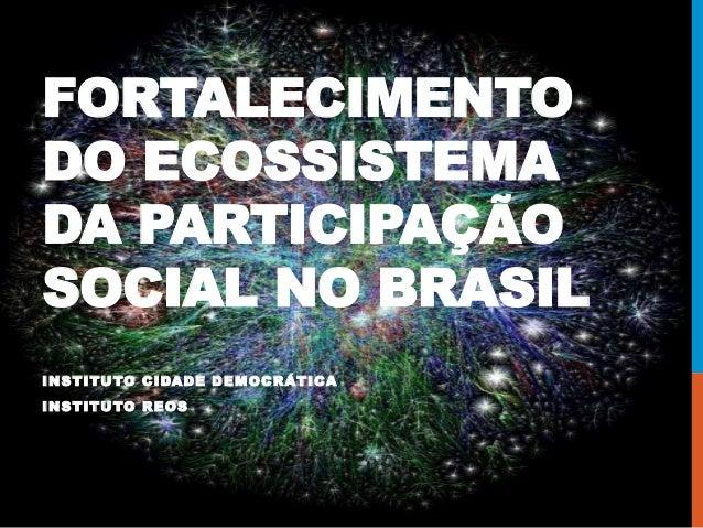 FORTALECIMENTO DO ECOSSISTEMA DA PARTICIPAÇÃO SOCIAL NO BRASIL INSTITUTO CIDADE DEMOCRÁTICA INSTITUTO REOS