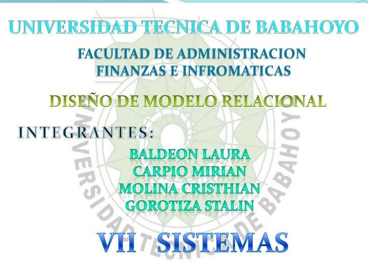 FACULTAD DE ADMINISTRACION  FINANZAS E INFROMATICAS