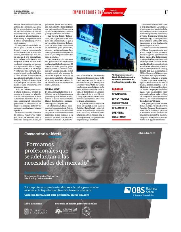 """47EL MUNDO DOMINGO 17 DE SEPTIEMBRE DE 2017 """"Formamos profesionales que se adelantan a las necesidades del mercado"""" Susana..."""