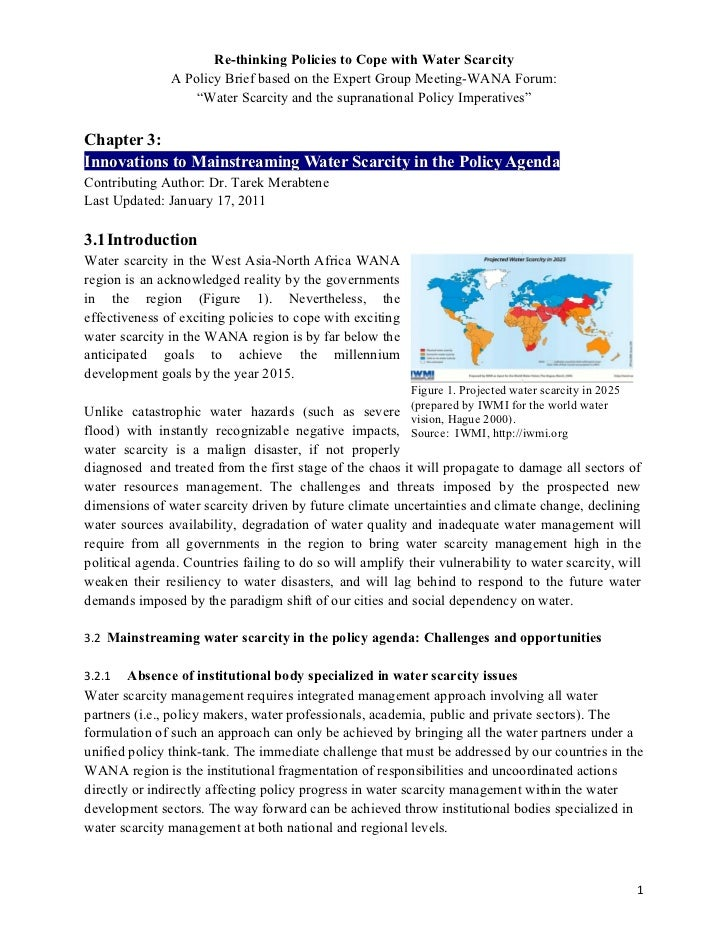 Re-thinking Policies to Cope with Water Scarcity               A Policy Brief based on the Expert Group Meeting-WANA Forum...