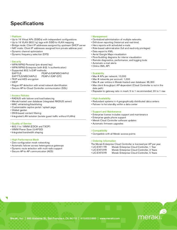 Meraki Datasheet Cloud Controller (Enterprise)
