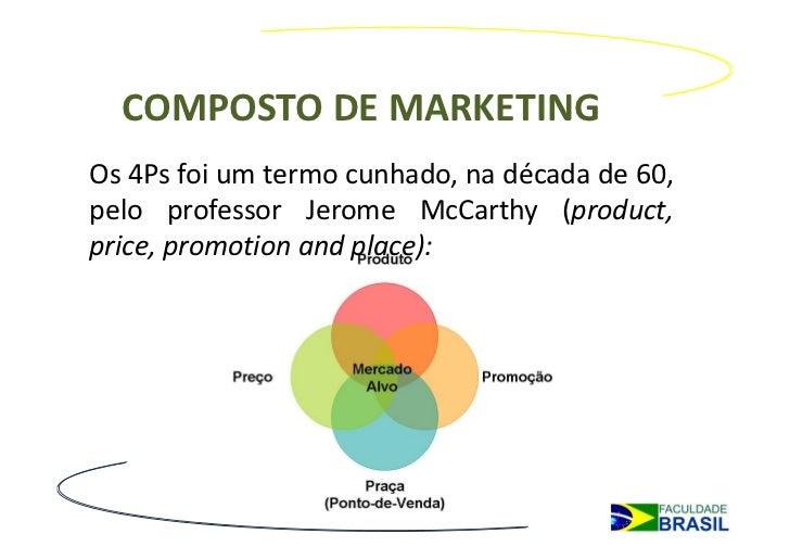 COMPOSTO DE MARKETINGOs 4Ps foi um termo cunhado, na década de 60,pelo professor Jerome McCarthy (product,price, promotion...