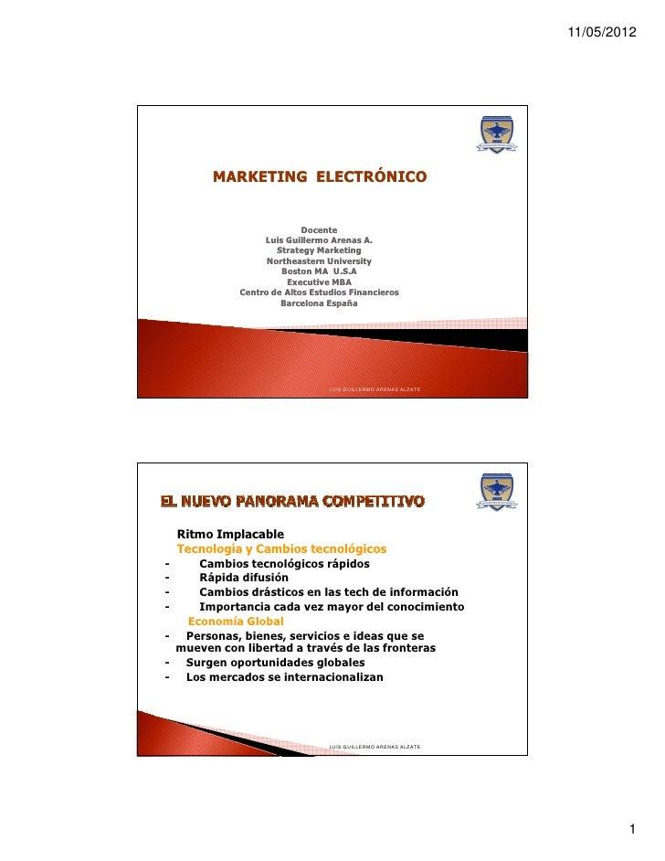 11/05/2012          MARKETING ELECTRÓNICO                            Docente                   Luis Guillermo Arenas A.   ...