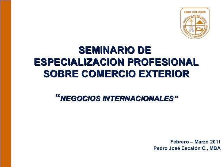 """SEMINARIO DE  ESPECIALIZACION PROFESIONAL SOBRE COMERCIO EXTERIOR """" NEGOCIOS INTERNACIONALES"""" Febrero – Marzo 2011 Pedro J..."""