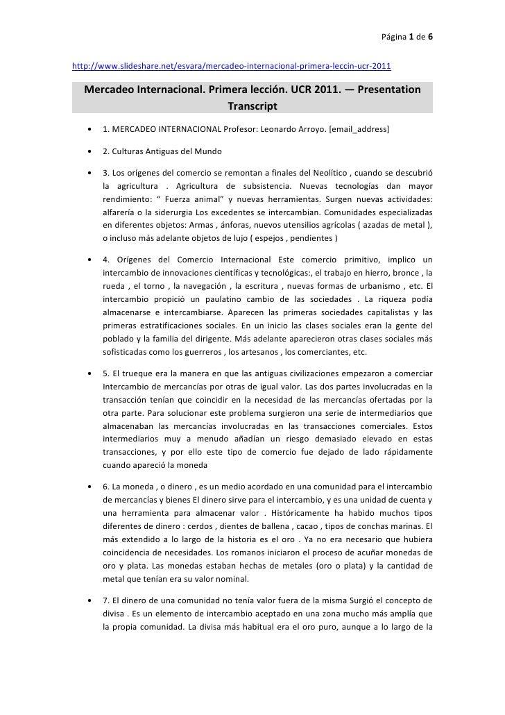 Página 1 de 6http://www.slideshare.net/esvara/mercadeo-internacional-primera-leccin-ucr-2011  Mercadeo Internacional. Prim...