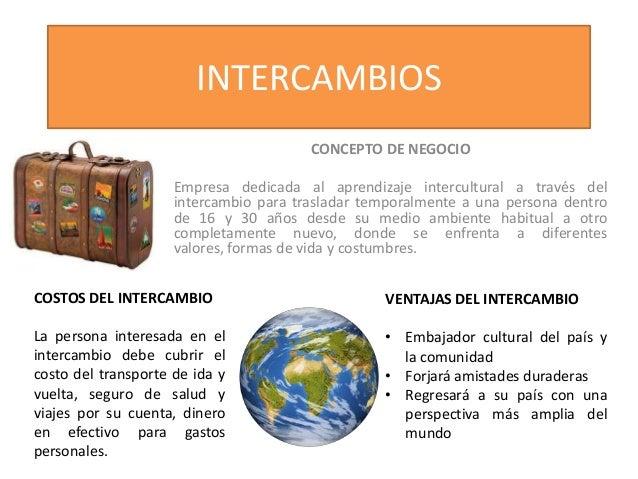 INTERCAMBIOS CONCEPTO DE NEGOCIO Empresa dedicada al aprendizaje intercultural a través del intercambio para trasladar tem...