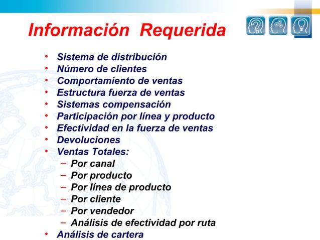 Información Requerida • Sistema de distribución • Número de clientes • Comportamiento de ventas • Estructura fuerza de ven...