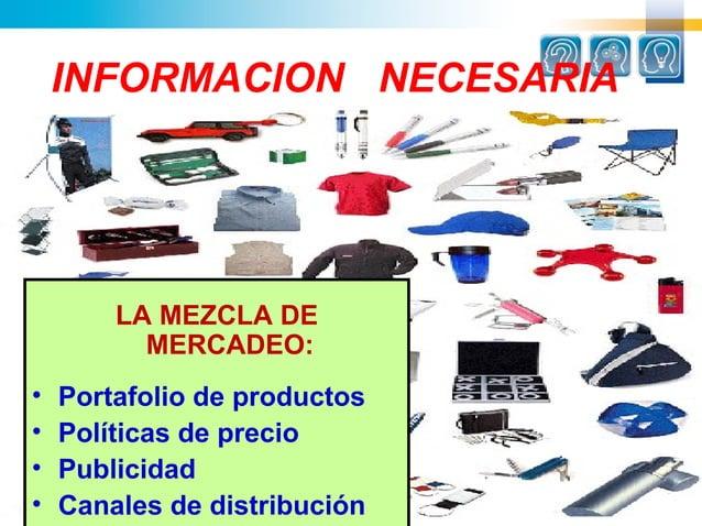 INFORMACION NECESARIA        LA MEZCLA DE          MERCADEO:•   Portafolio de productos•   Políticas de precio•   Publicid...