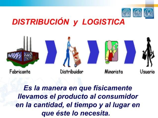 DISTRIBUCIÓN y LOGISTICA   Es la manera en que físicamente llevamos el producto al consumidoren la cantidad, el tiempo y a...