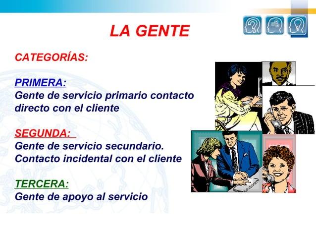 LA GENTECATEGORÍAS:PRIMERA:Gente de servicio primario contactodirecto con el clienteSEGUNDA:Gente de servicio secundario.C...