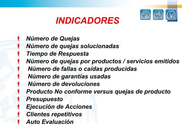 INDICADORES   Número de Quejas   Número de quejas solucionadas   Tiempo de Respuesta   Número de quejas por productos ...