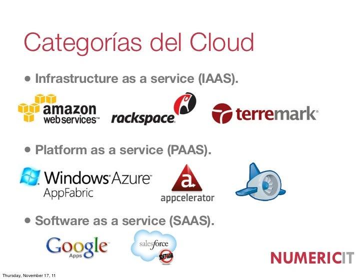 Categorías del Cloud         • Infrastructure as a service (IAAS).         • Platform as a service (PAAS).         • Softw...