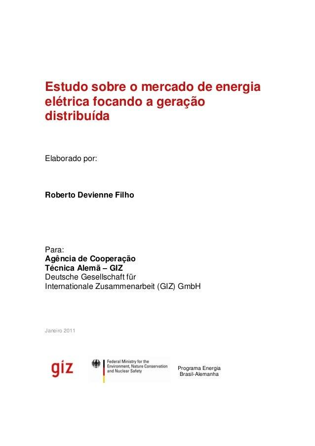 Estudo sobre o mercado de energiaelétrica focando a geraçãodistribuídaElaborado por:Roberto Devienne FilhoPara:Agência de ...