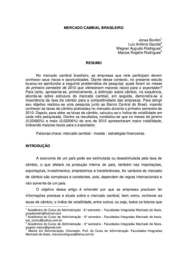 MERCADO CAMBIAL BRASILEIRO                                                                        Jonas Bordim1           ...