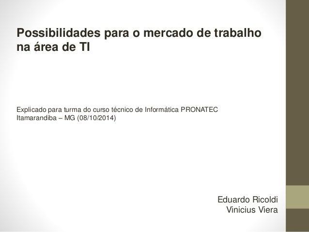 Possibilidades para o mercado de trabalho na área de TI Explicado para turma do curso técnico de Informática PRONATEC Itam...