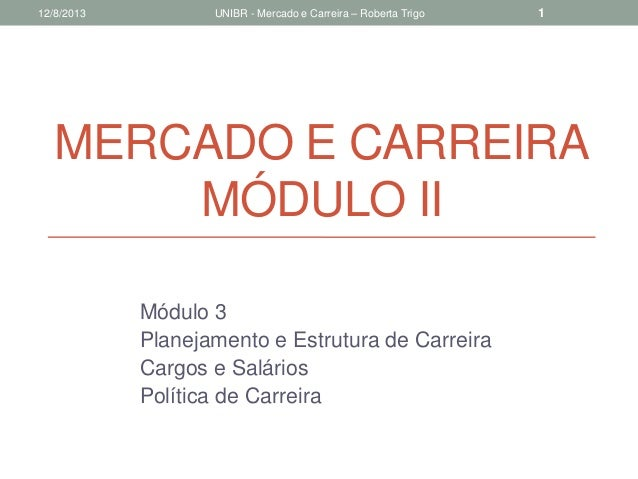 MERCADO E CARREIRA MÓDULO II Módulo 3 Planejamento e Estrutura de Carreira Cargos e Salários Política de Carreira 12/8/201...