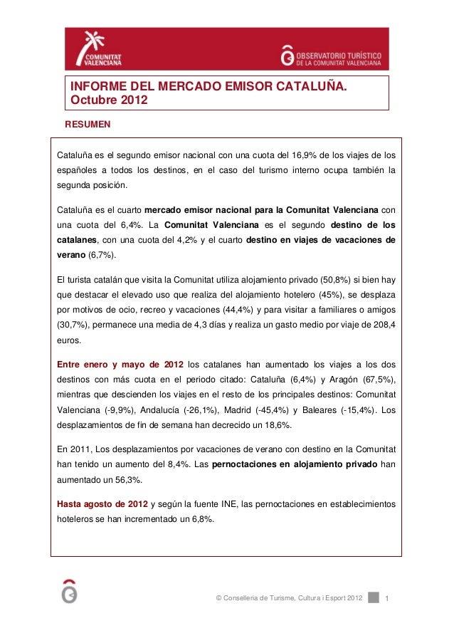 INFORME DEL MERCADO EMISOR CATALUÑA.   Octubre 2012  RESUMENCataluña es el segundo emisor nacional con una cuota del 16,9%...