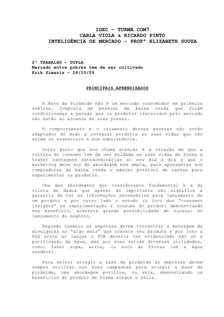 IGEC – TURMA COM7               CARLA VIOLA & RICARDO PINTO     INTELIGÊNCIA DE MERCADO - PROFª ELIZABETH SOUZA2º TRABALHO...
