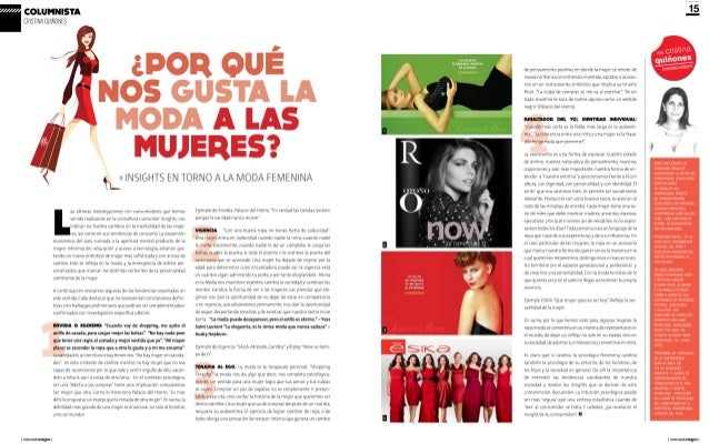Insights moda femenina - Cristina Quiñones en Revista Mercado Negro
