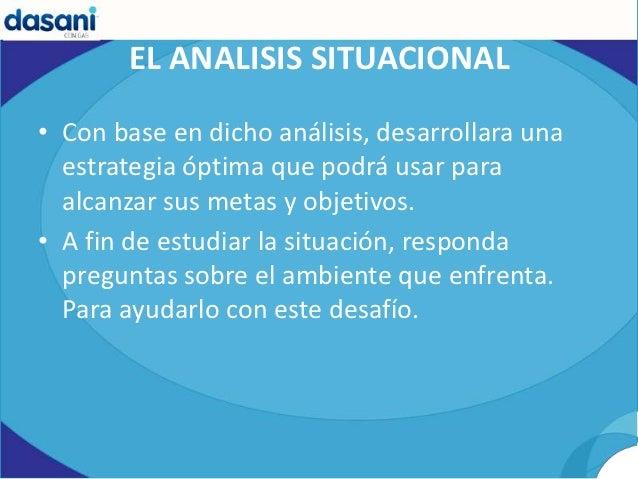 EL ANALISIS SITUACIONAL• Con base en dicho análisis, desarrollara una  estrategia óptima que podrá usar para  alcanzar sus...