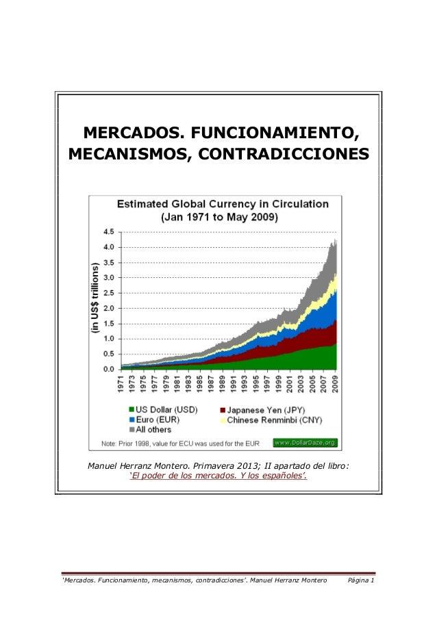 """""""Mercados. Funcionamiento, mecanismos, contradicciones"""". Manuel Herranz Montero Página 1 MERCADOS. FUNCIONAMIENTO, MECANIS..."""