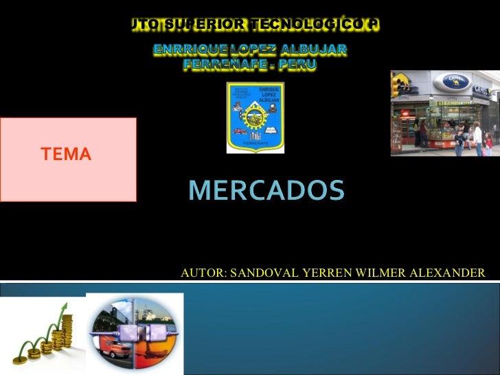 TEMA  AUTOR: SANDOVAL YERREN WILMER ALEXANDER INSTITUTO SUPERIOR TECNOLOGICO PÚBLICO