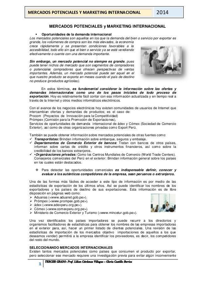 1 TERCER GRADO- Prof. Lilian Cárdenas Villegas – Gloria Castillo Berrios  MERCADOS POTENCIALES Y MARKETING INTERNACIONAL  ...