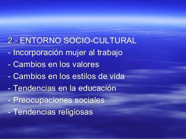 22..-- ENTORNO SOCIO-CULTURAL  - Incorporación mujer al trabajo  - Cambios en los valores  - Cambios en los estilos de vid...