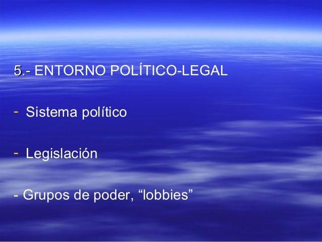 "55..-- ENTORNO POLÍTICO-LEGAL  - Sistema político  - Legislación  - Grupos de poder, ""lobbies"""
