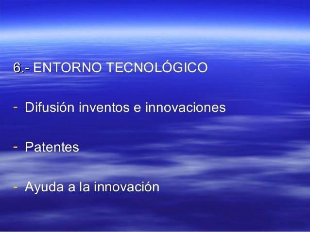 66..-- ENTORNO TECNOLÓGICO  - Difusión inventos e innovaciones  - Patentes  - Ayuda a la innovación