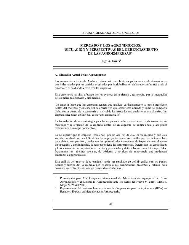 """REVISTA MEXICANA DE AGRONEGOCIOS  MERCADO Y LOS AGRONEGOCIOS: """"SITUACIÓN Y PERSPECTIVAS DEL GERENCIAMIENTO DE LAS AGROEMPR..."""