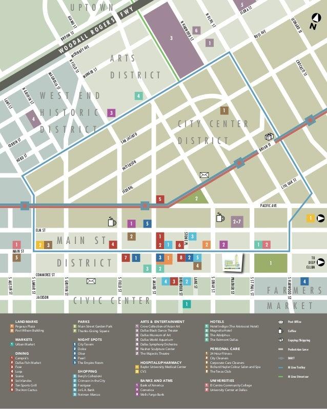 mercantile place 5 mile and 5 block map pc schematic diagram commerce st main st elm st to deep ellum pacific ave san jacinto broom st flora