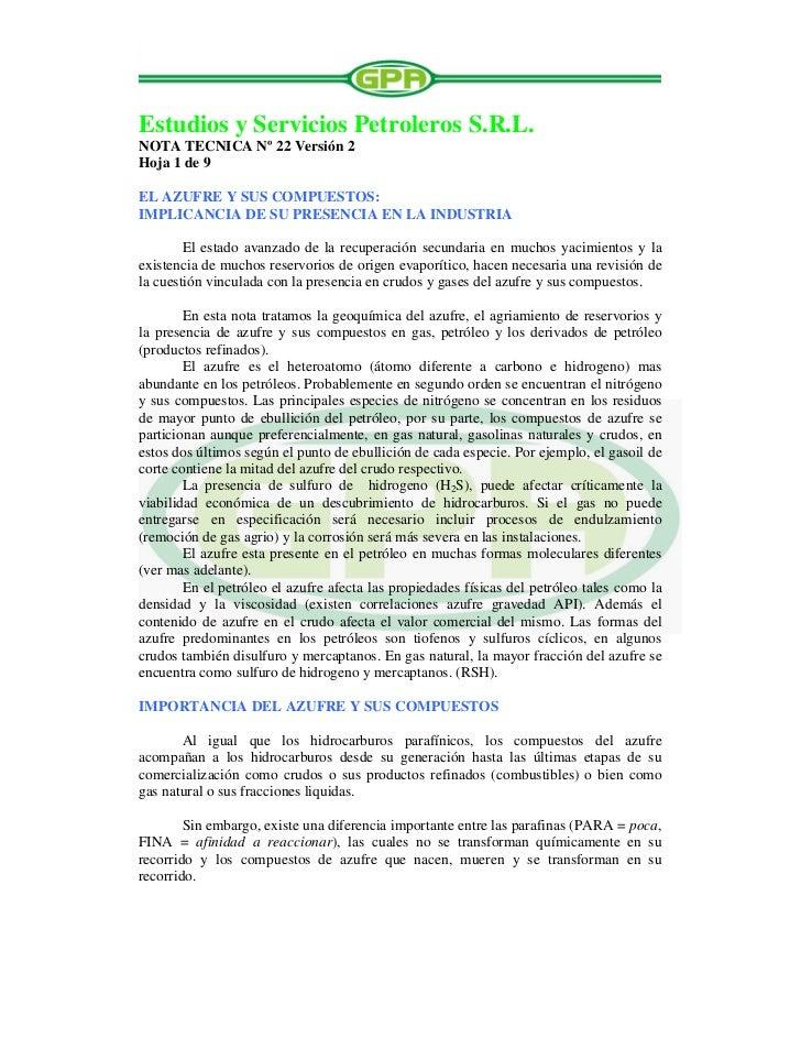 Estudios y Servicios Petroleros S.R.L.NOTA TECNICA Nº 22 Versión 2Hoja 1 de 9EL AZUFRE Y SUS COMPUESTOS:IMPLICANCIA DE SU ...