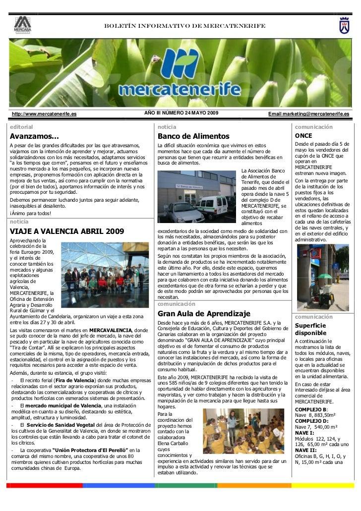 Boletín informativo DE MERCATENERIFEhttp://www.mercatenerife.es                                     AÑO III NÚMERO 24 MAYO...