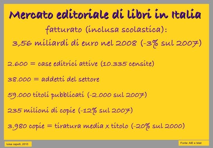 Mercato editoriale di libri in Italia             fatturato (inclusa scolastica):      3,56 miliardi di euro nel 2008 (-3%...