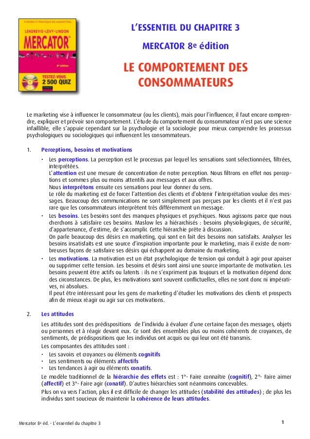 L'ESSENTIEL DU CHAPITRE 3 MERCATOR 8e édition LE COMPORTEMENT DES CONSOMMATEURS Mercator 8e éd. - L'essentiel du chapitre ...
