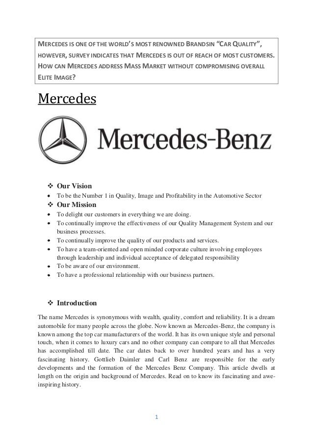 What mercedes could do to target the middle class customer for Mercedes benz corporate number