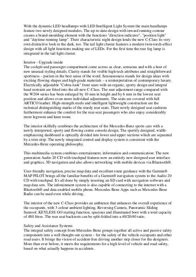 2015 mercedes benz c class india launch press release for Mercedes benz press release