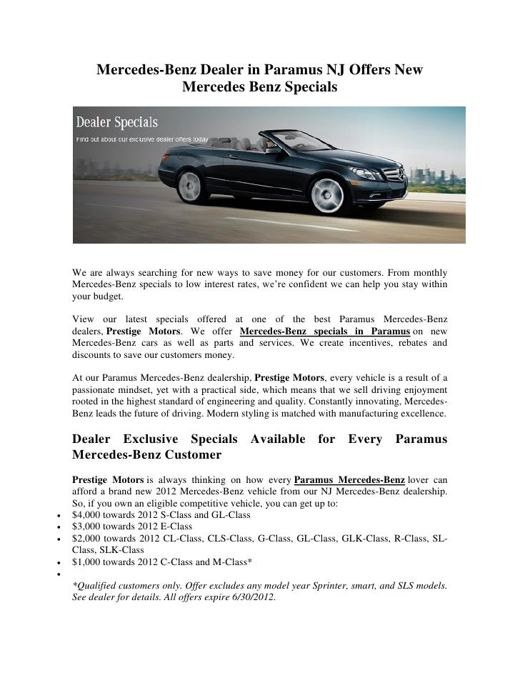 Mercedes Benz Dealer In Paramus NJ Offers New Mercedes Benz Specials We Are  Always ...