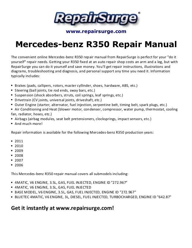 Repairsurge Mercedesbenz R350 Repair Manual The Convenient Online Mercedes: Mercedes Benz R350 Engine Diagram At Executivepassage.co
