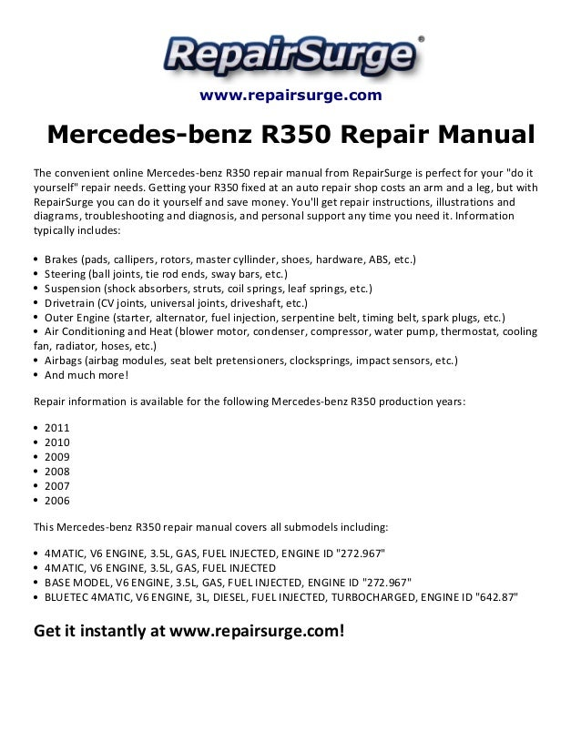 Mercedes benz r350 repair manual 2006 2011 for Mercedes benz online repair manual