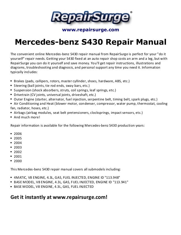 Mercedes Benz S430 Repair Manual 20002006rhslideshare: 2004 Chevrolet Tracker Starter Location At Gmaili.net