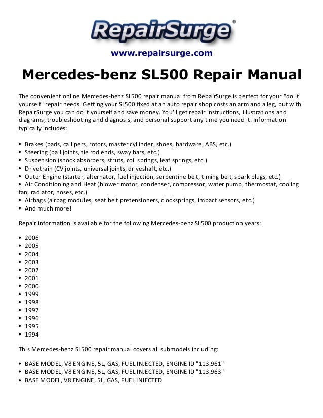 mercedes benz sl500 repair manual 1994 2006 rh slideshare net mercedes sl 500 repair manual mercedes 500 sl owners manual