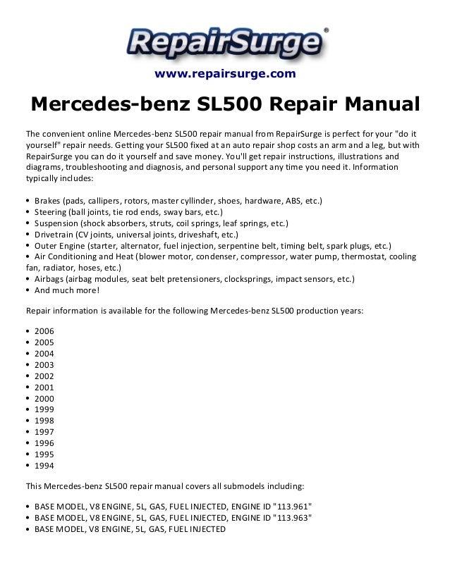 mercedes benz sl500 repair manual 1994 2006 rh slideshare net