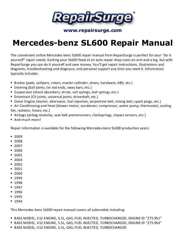 Mercedes Benz Sl600 Repair Manual 19942009