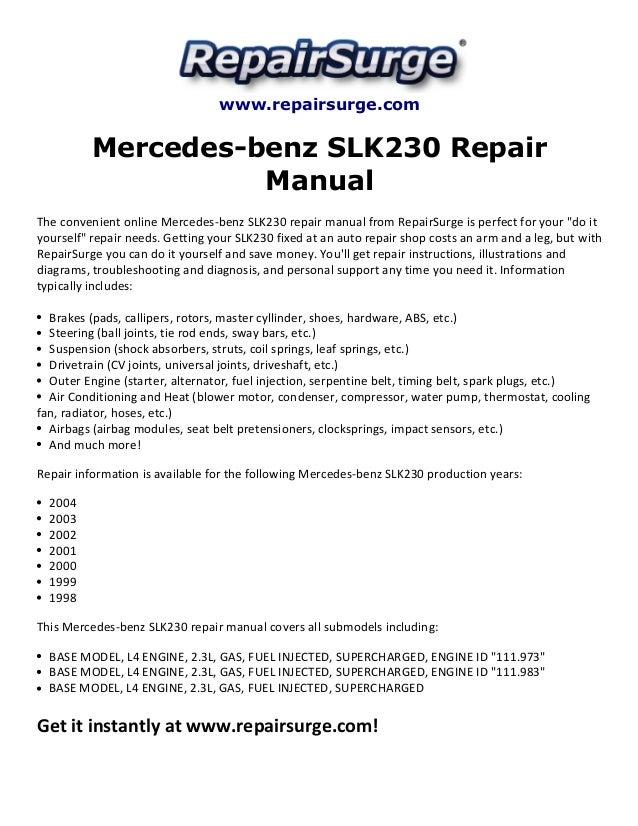 mercedes benz slk230 repair manual 19982004 1 638?cb=1415647988 mercedes benz slk230 repair manual 1998 2004 mercedes 1999 230 slk fuse box diagram at bakdesigns.co
